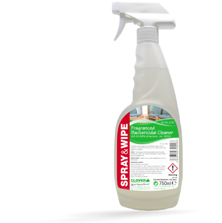 Clover Spray & Wipe Fragrant Cleaner and Disinfectant Kills 99.999% of bacteria.